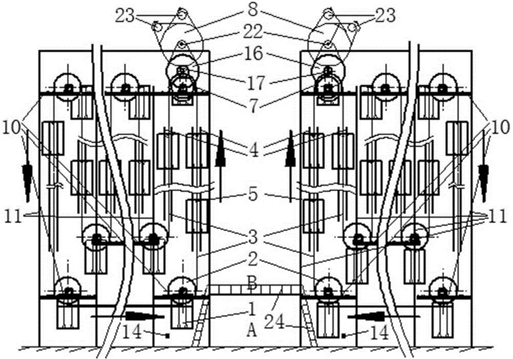 悬挂回转式高架立体仓库系统(公开号:CN104444016B)(CN104444016B)