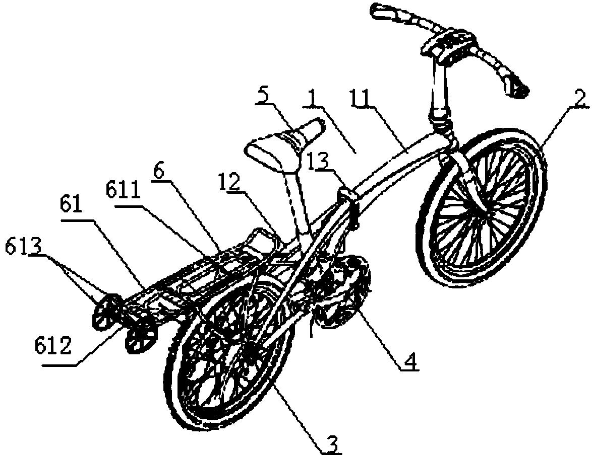带双尾轮的折叠式单车(公开号:CN205365928U)