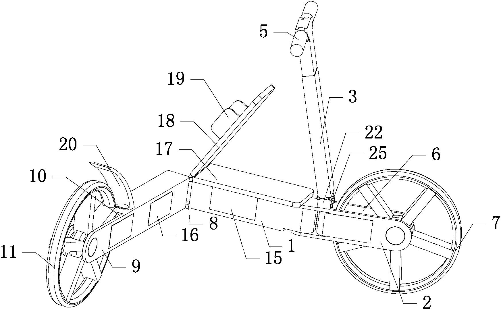 一种便携式滑板车(公开号:CN206049925U)