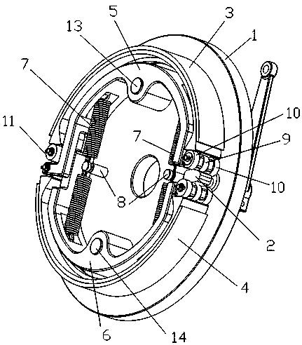 一种机械双领双从浮动式机动车制动器(公开号:CN106678204A)