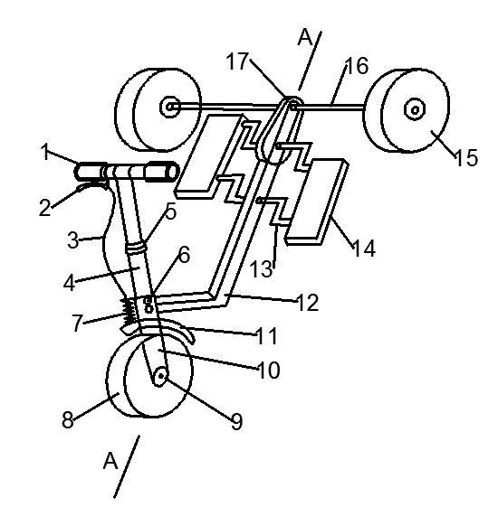 一种新型的能自由滑行的折叠式三轮踩踏车