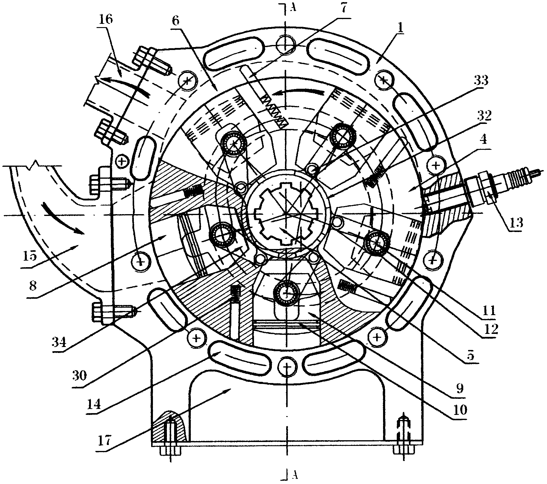旋转活塞发动机(公开号:CN105781727A)